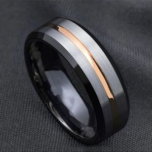 New Brushed Black Stainless Steel Men's ring Band
